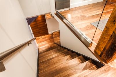Escalier Noyer Noir et panneaux de verre
